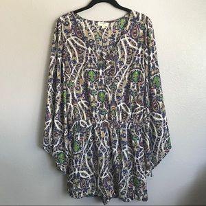 Umgee Paisley Bell Sleeve Button Romper Size Small